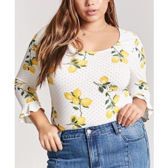 813c2b4d00c Forever 21 Tops - Plus Size Polka Dot Lemon Print Bodysuit